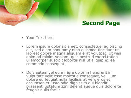 Green Apple In Hand PowerPoint Template Slide 2