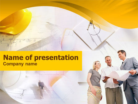 Building Project Discussion PowerPoint Template, 01246, Construction — PoweredTemplate.com