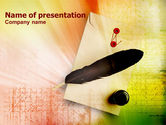 Art & Entertainment: Writing Feather PowerPoint Template #01256