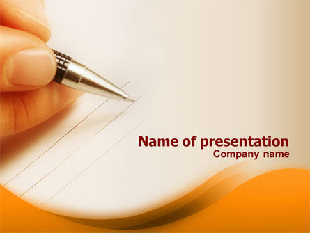 Consulting: Writing Pen PowerPoint Template #01282