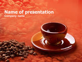 Food & Beverage: Coffee Beans And Ceramic Coffee Cup PowerPoint Template #01283