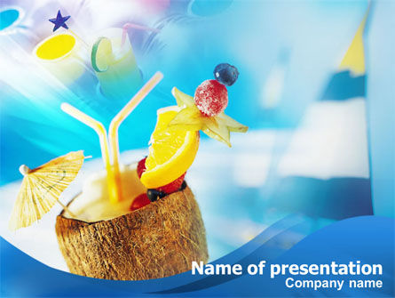 Food & Beverage: Coconut Cocktail PowerPoint Template #01288
