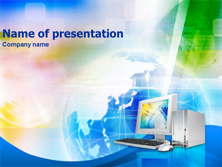 Computer & Globe PowerPoint Template, 01298, Technology and Science — PoweredTemplate.com