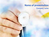 Medical: Phonendoscope In A Yellow Blue Colors PowerPoint Template #01305