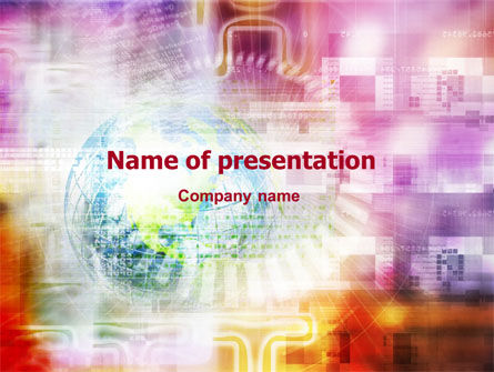 Bright Globe In Purple Color PowerPoint Template, 01316, Global — PoweredTemplate.com