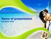 People: Couple At The Beach PowerPoint Template #01323