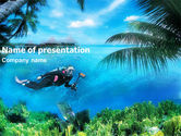 Sports: Scuba Diver PowerPoint Template #01324