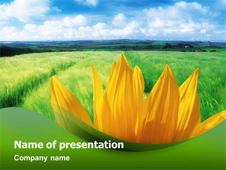 Sunflower In Green PowerPoint Template