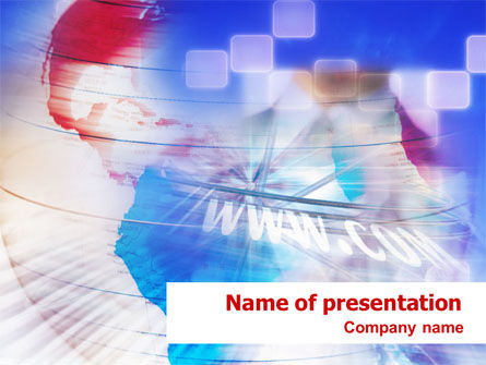 Telecommunication: Red & Blue Globe PowerPoint Template #01331