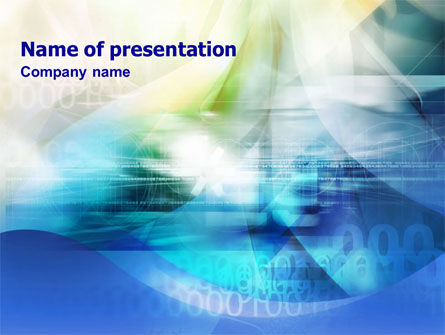 Blue Cipher PowerPoint Template, 01333, Abstract/Textures — PoweredTemplate.com