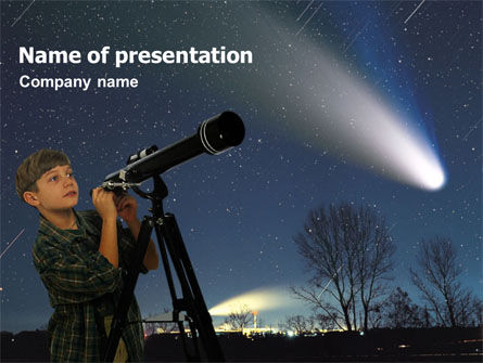 Young Astronomer PowerPoint Template, 01349, Education & Training — PoweredTemplate.com