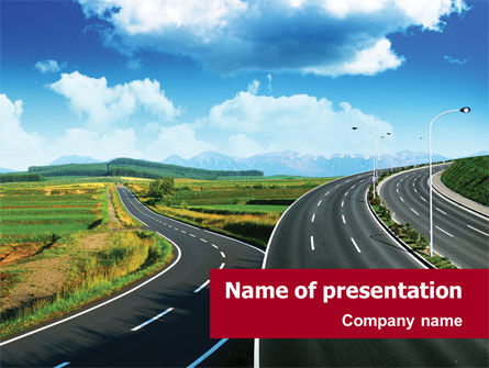 Highway Under Blue Sky PowerPoint Template