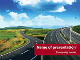 Construction: Highway Under Blue Sky PowerPoint Template #01358