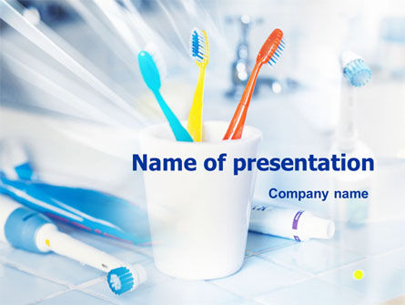 Toothbrushes in the Glass PowerPoint Template, 01366, Medical — PoweredTemplate.com