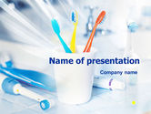 Medical: Toothbrushes in the Glass PowerPoint Template #01366