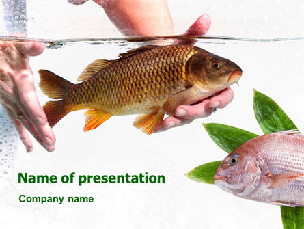 Fish in Water PowerPoint Template, 01367, Agriculture — PoweredTemplate.com