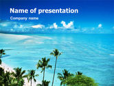Nature & Environment: Palm Trees at the Seaside PowerPoint Template #01368
