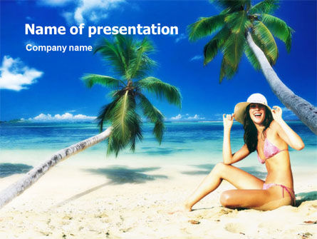 Careers/Industry: Beach Girl PowerPoint Template #01372