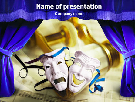 Art & Entertainment: Masks and Curtain PowerPoint Template #01380