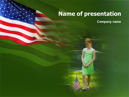 Religious/Spiritual: Little Girl In Memorial Day Free PowerPoint Template #01397