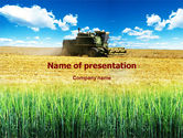 Agriculture: Harvester in the Field PowerPoint Template #01403
