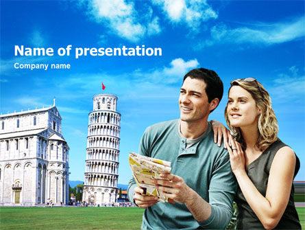 Tourists & Pisa PowerPoint Template, 01405, Careers/Industry — PoweredTemplate.com