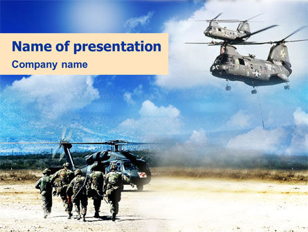 Military Helicopter Forces PowerPoint Template, 01415, Military — PoweredTemplate.com