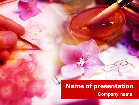 Art & Entertainment: Painting & Flowers PowerPoint Template #01417