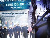 People: Police Barrier PowerPoint Template #01429