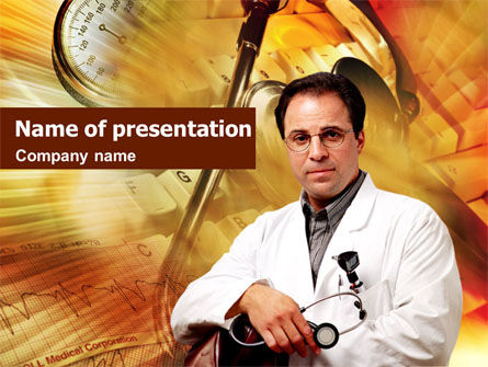 Doctor On A Light Orange PowerPoint Template, 01435, Medical — PoweredTemplate.com