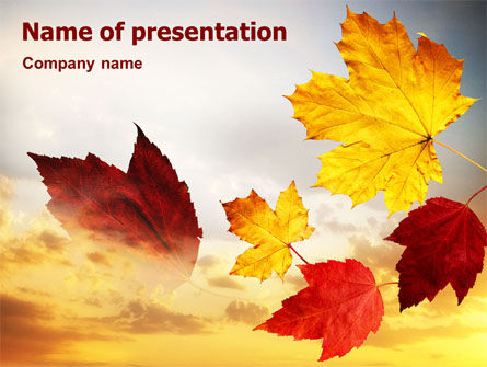 Nature & Environment: Falling Leaves In The Sunset PowerPoint Template #01454