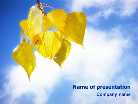Yellow Leaves PowerPoint Template, 01478, Nature & Environment — PoweredTemplate.com