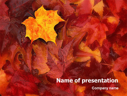 Nature & Environment: Fallen Red Leaves PowerPoint Template #01482
