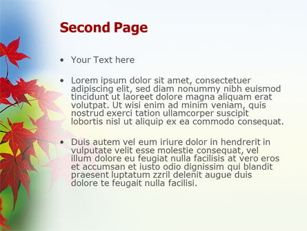 Autumn Red Leaves PowerPoint Template, Slide 2, 01483, Nature & Environment — PoweredTemplate.com