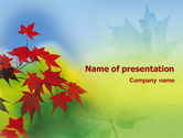 Nature & Environment: Autumn Red Leaves PowerPoint Template #01483