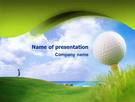 Golfer On The Seaside Field PowerPoint Template, 01485, Sports — PoweredTemplate.com