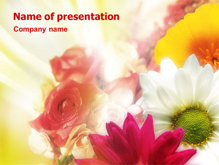 Holiday/Special Occasion: Yellow Red Flowers PowerPoint Template #01486