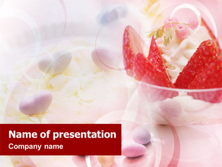 Food & Beverage: Ice Cream & Strawberries PowerPoint Template #01499