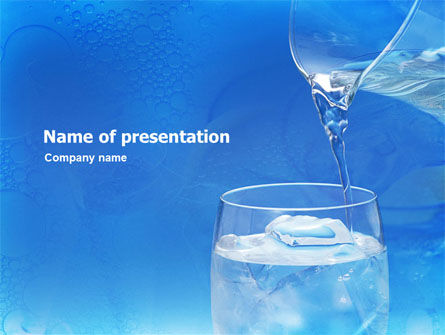 Food & Beverage: Glass Of Water And Ice PowerPoint Template #01519