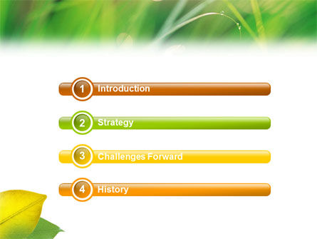 Yellow Leaf In Green Grass PowerPoint Template Slide 3