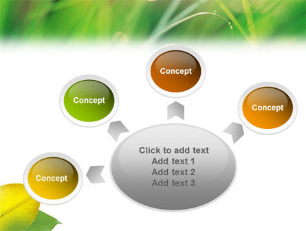Yellow Leaf In Green Grass PowerPoint Template Slide 7