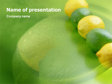 Green And Yellow Lemons In Line PowerPoint Template, 01532, Food & Beverage — PoweredTemplate.com