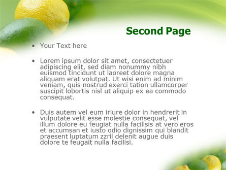 Green And Yellow Lemons In Line PowerPoint Template Slide 2