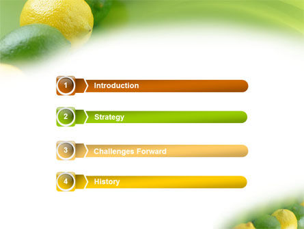 Green And Yellow Lemons In Line PowerPoint Template, Slide 3, 01532, Food & Beverage — PoweredTemplate.com