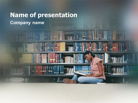 School Girl In The Library PowerPoint Template