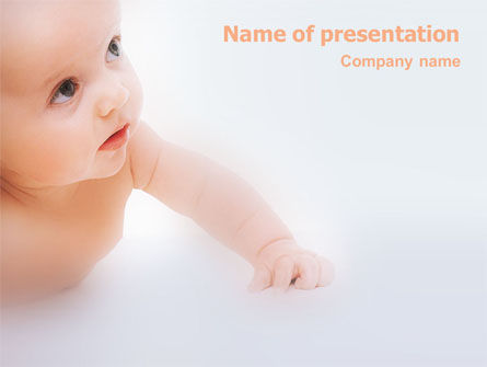 Baby On Light Blue Background PowerPoint Template, 01580, Education & Training — PoweredTemplate.com