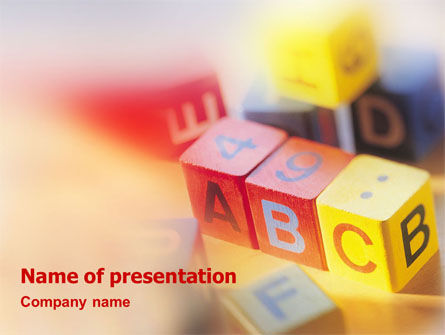 ABC Educational Cubes PowerPoint Template, 01600, Education & Training — PoweredTemplate.com
