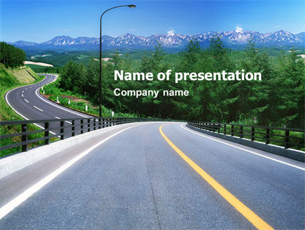 Highway In The Hill Country PowerPoint Template, 01612, Construction — PoweredTemplate.com