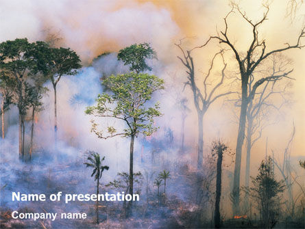 Nature & Environment: Forest Fire PowerPoint Template #01636