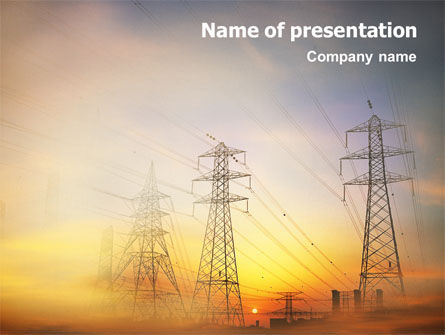 Utilities/Industrial: Power Line PowerPoint Template #01638